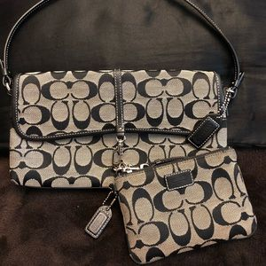 Coach Signature Demi Clip Flap Purse + Wristlet!